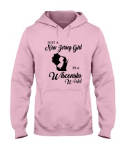 JUST A NEW JERSEY GIRL IN A WISCONSIN WORLD Hooded Sweatshirt front