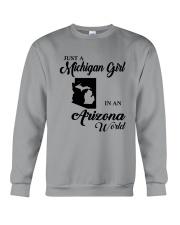 JUST A MICHIGAN GIRL IN An ARIZONA WORLD Crewneck Sweatshirt thumbnail