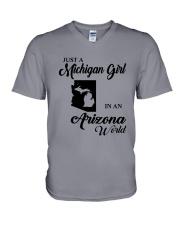 JUST A MICHIGAN GIRL IN An ARIZONA WORLD V-Neck T-Shirt thumbnail