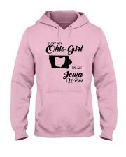 JUST An OHIO GIRL IN An IOWA WORLD Hooded Sweatshirt front