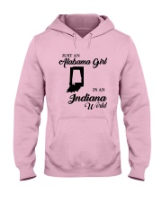 JUST AN ALABAMA GIRL IN AN INDIANA WORLD Hooded Sweatshirt front