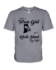JUST A TEXAS GIRL IN A RHODE ISLAND WORLD V-Neck T-Shirt thumbnail