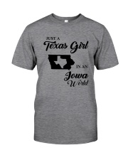JUST A TEXAS GIRL IN AN IOWA WORLD Classic T-Shirt tile