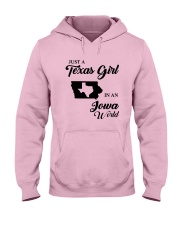 JUST A TEXAS GIRL IN AN IOWA WORLD Hooded Sweatshirt front