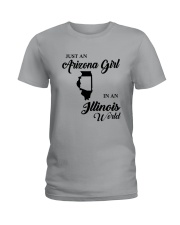 JUST AN ARIZONA GIRL IN AN ILLINOIS WORLD Ladies T-Shirt thumbnail