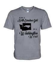 JUST A NORTH CAROLINA GIRL IN A WASHINGTON WORLD V-Neck T-Shirt thumbnail