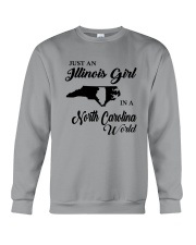 JUST AN ILLINOIS GIRL IN A NORTH CAROLINA WORLD Crewneck Sweatshirt thumbnail