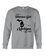 JUST A TENNESSEE GIRL IN A MICHIGAN WORLD Crewneck Sweatshirt thumbnail