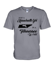JUST A MASSACHUSETTS GIRL IN A TENNESSEE WORLD V-Neck T-Shirt thumbnail