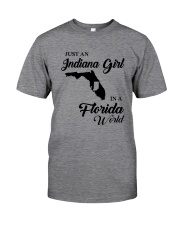 JUST AN INDIANA GIRL IN A FLORIDA WORLD Classic T-Shirt thumbnail