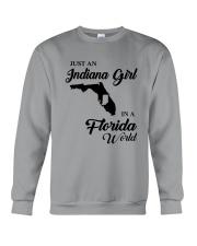 JUST AN INDIANA GIRL IN A FLORIDA WORLD Crewneck Sweatshirt thumbnail