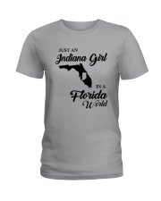 JUST AN INDIANA GIRL IN A FLORIDA WORLD Ladies T-Shirt thumbnail
