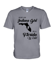 JUST AN INDIANA GIRL IN A FLORIDA WORLD V-Neck T-Shirt thumbnail