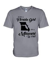 JUST A FLORIDA GIRL IN A MISSOURI WORLD V-Neck T-Shirt thumbnail