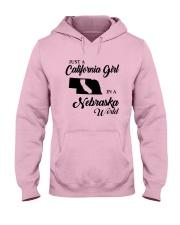JUST A CALIFORNIA GIRL IN A NEBRASKA WORLD Hooded Sweatshirt front