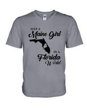 JUST A MAINE GIRL IN A FLORIDA WORLD V-Neck T-Shirt thumbnail