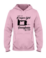 JUST AN OREGON GIRL IN A PENNSYLVANIA WORLD Hooded Sweatshirt front