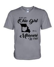 JUST An OHIO GIRL IN A MISSOURI WORLD V-Neck T-Shirt thumbnail