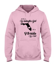 JUST A WASHINGTON GIRL IN A FLORIDA WORLD Hooded Sweatshirt front
