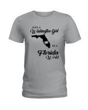 JUST A WASHINGTON GIRL IN A FLORIDA WORLD Ladies T-Shirt thumbnail