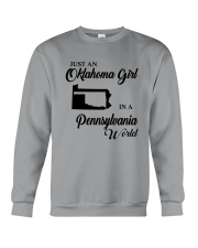 JUST AN OKLAHOMA GIRL IN A PENNSYLVANIA WORLD Crewneck Sweatshirt tile