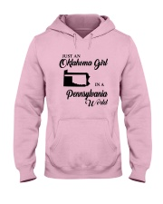 JUST AN OKLAHOMA GIRL IN A PENNSYLVANIA WORLD Hooded Sweatshirt front
