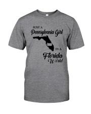 JUST A PENNSYLVANIA GIRL IN A FLORIDA WORLD Classic T-Shirt thumbnail