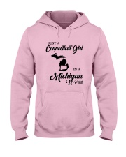 JUST A CONNECTICUT GIRL IN A MICHIGAN WORLD Hooded Sweatshirt front
