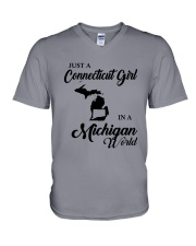 JUST A CONNECTICUT GIRL IN A MICHIGAN WORLD V-Neck T-Shirt thumbnail