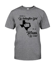 JUST A WASHINGTON GIRL IN A TEXAS WORLD Classic T-Shirt tile