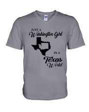 JUST A WASHINGTON GIRL IN A TEXAS WORLD V-Neck T-Shirt thumbnail