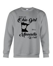 JUST An OHIO GIRL IN A MINNESOTA WORLD Crewneck Sweatshirt thumbnail