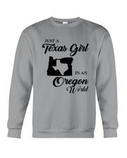 JUST A TEXAS GIRL IN AN OREGON WORLD Crewneck Sweatshirt thumbnail