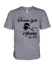 JUST A FLORIDA GIRL IN AN ALASKA WORLD V-Neck T-Shirt thumbnail