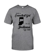 JUST A CONNECTICUT GIRL IN An INDIANA WORLD Classic T-Shirt thumbnail