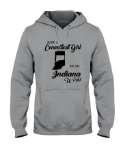 JUST A CONNECTICUT GIRL IN An INDIANA WORLD Hooded Sweatshirt tile