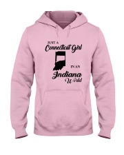 JUST A CONNECTICUT GIRL IN An INDIANA WORLD Hooded Sweatshirt front