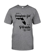 JUST A PENNSYLVANIA GIRL IN A FLORIDA WORLD Classic T-Shirt thumbnail
