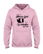 JUST AN ILLINOIS GIRL IN A WASHINGTON WORLD Hooded Sweatshirt front