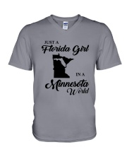 JUST A FLORIDA GIRL IN A MINNESOTA WORLD V-Neck T-Shirt thumbnail