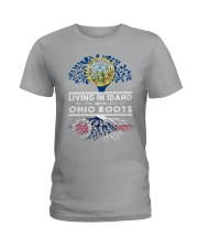 LIVING IN IDAHO WITH OHIO ROOTS Ladies T-Shirt thumbnail