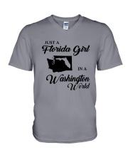JUST A FLORIDA GIRL IN A WASHINGTON WORLD V-Neck T-Shirt thumbnail
