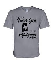 JUST A TEXAS GIRL IN AN ALABAMA WORLD V-Neck T-Shirt thumbnail