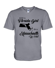 JUST A FLORIDA GIRL IN A MASSACHUSETTS WORLD V-Neck T-Shirt thumbnail