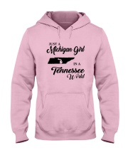 JUST A MICHIGAN GIRL IN A TENNESSEE WORLD Hooded Sweatshirt front