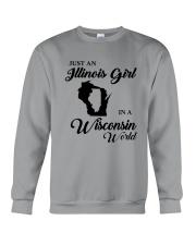 JUST AN ILLINOIS GIRL IN A WISCONSIN WORLD Crewneck Sweatshirt thumbnail