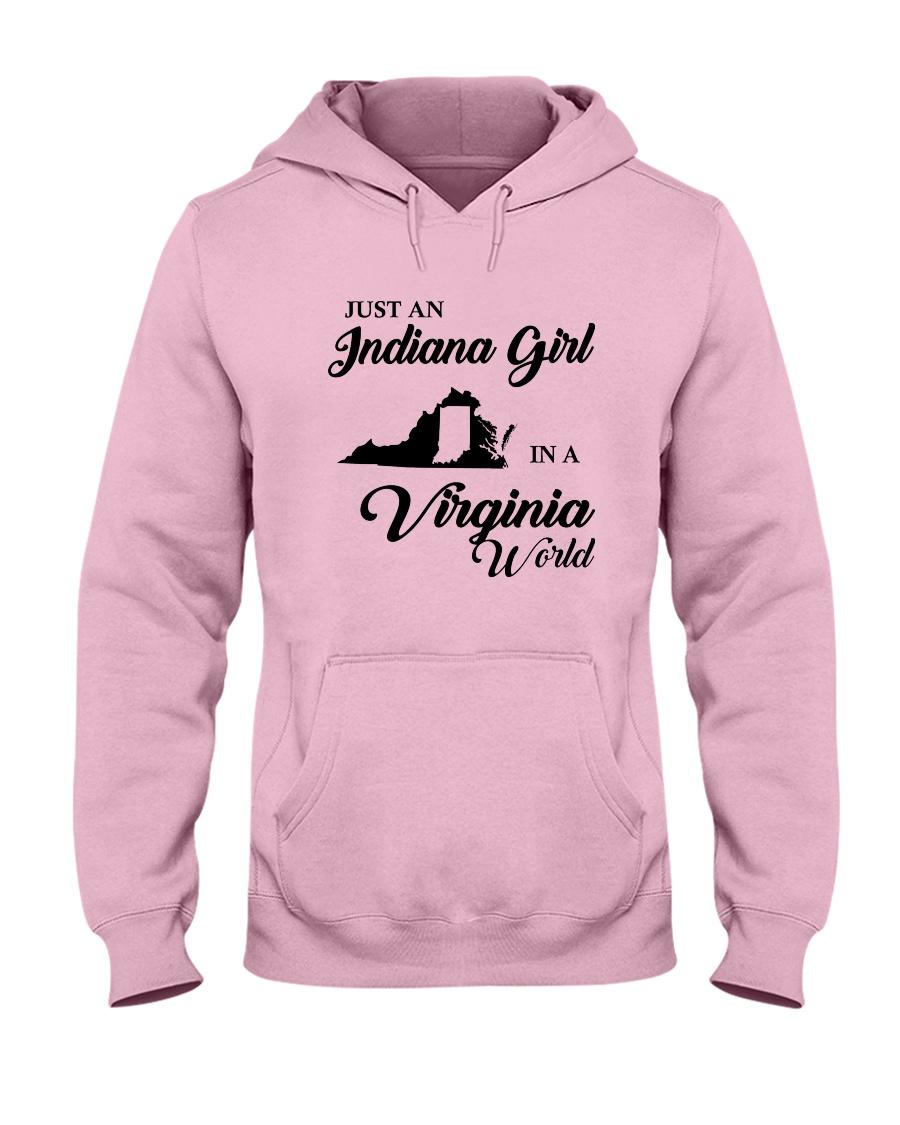 JUST AN INDIANA GIRL IN A VIRGINIA WORLD Hooded Sweatshirt