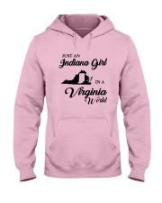 JUST AN INDIANA GIRL IN A VIRGINIA WORLD Hooded Sweatshirt front