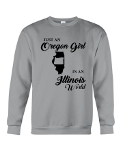JUST AN OREGON GIRL IN AN ILLINOIS WORLD Crewneck Sweatshirt thumbnail