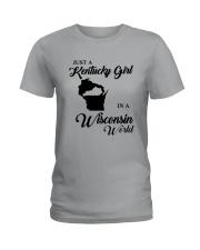 JUST A KENTUCKY GIRL IN A WISCONSIN WORLD Ladies T-Shirt thumbnail